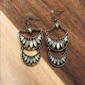 Lucky Brand grey stone layered earrings